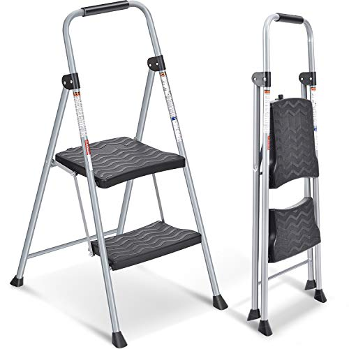 2 Step Ladder, Folding Step Stool with Handgrip, Heavy Duty Metal Ladder with Anti-Slip Rubber Feet and Wide Plastic Pedal, Portable for Household, Office, School, Hospital