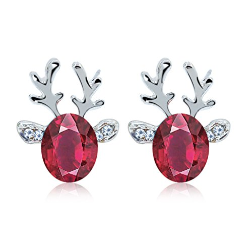 FILWO 1 Pair Christmas Earrings Holiday Jewelry for Womens Girls,Christmas Earrings Elk Antlers Shape Crystal Earrings Studs,Luxury Earing Hypoallergenic Cute Earrings for Xmas Holiday Jewellery Gift