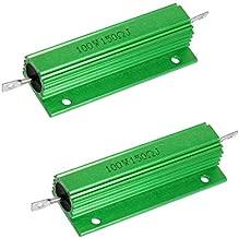 Yohii 2Pcs 100W 150 Ohm Green Aluminum Case Wirewound Housed Resistor