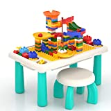 Lucky Doug Toddler Block Table with 105 PCS Marble Run Sets, 3-in-1 Activity Play Table Set with Chair for Toddlers Building Learning Playing