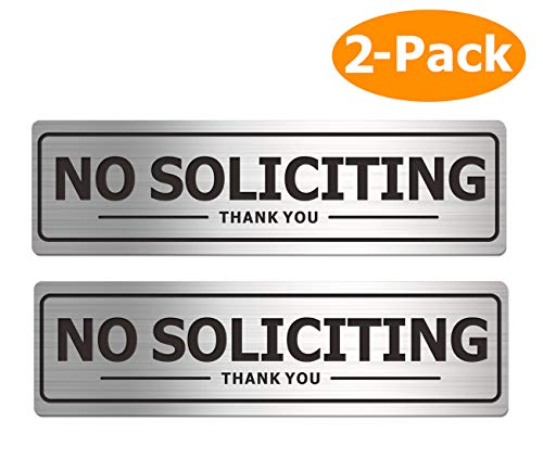 No Soliciting Sign - Door Signs for House Business and Office Wall - Aluminum Metal with Strong Self Adhesive (2 Pack, Silver 7×2 inches)