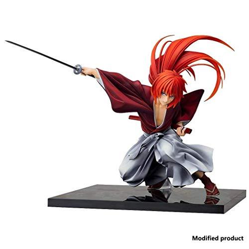 Knmbmg Rurouni Kenshin: Meiji Swordsman Romantic Story: HIMURA KENSHIN PVC Figure, Highly Detailed Sculpt Handsome Sword Posture, Computer Desktop Decoration Collection Christmas Best Gift, High 19cm,
