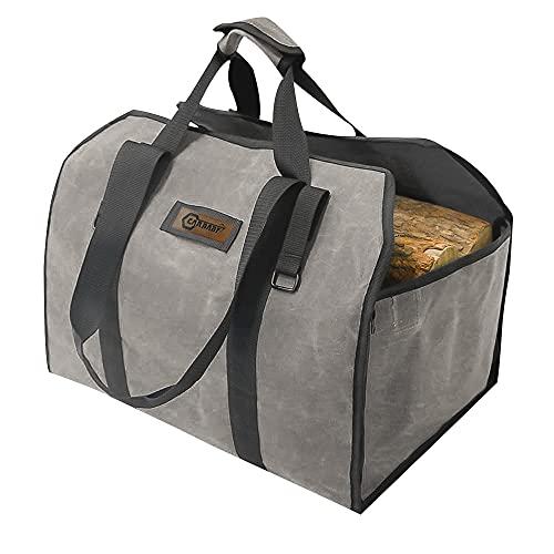 CARBABY 薪バッグ 2way使用 ログキャリー 薪ケース 持ち運び用 ハンドル付き ストーブアクセサリー 帆布製 防水(グレイ)