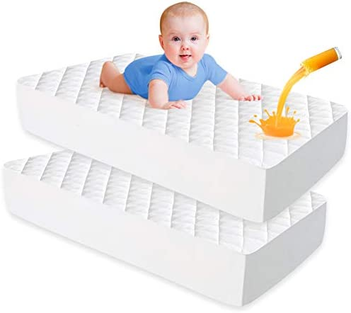 UNILIBRA 2 Pack Waterproof Crib Mattress Pad Bamboo Quilted Baby Mattress Protector Ultra Soft product image
