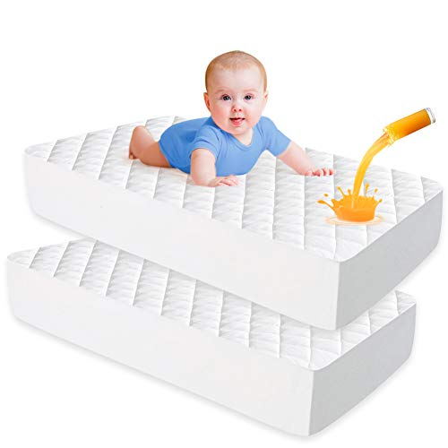 Enjoy Peace of Mind as Your Newborn Sleep Soft Protector Cover Pad with Long Ties for Babys Mattress White iLuvBamboo Baby Crib Waterproof Bamboo Sheet Saver Larger Than Other Crib Pads