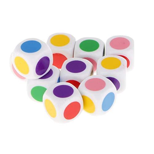 JOJOZZ Brettspiele Puzzle-Spiele Lernspielzeug 6 Farben, EIN Set von 10 Dice