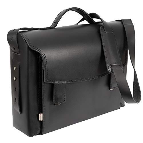 Luxus Aktentasche Lehrertasche für Damen Größe L aus Leder, Schwarz, Blau gefüttert, Jahn-Tasche 609