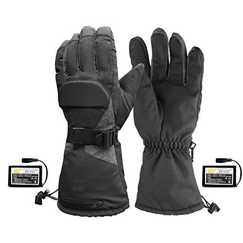 YOGANHJAT Guanti riscaldati Ricaricabili per Uomo Donna Touchscreen, con Batteria Ricaricabile Invernali Antivento Guanto per artrite Moto Escursionismo Sci Ciclismo Caccia,Nero,XL