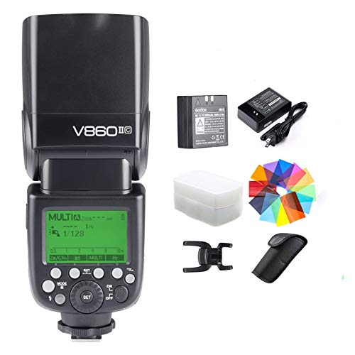GODOX V860II-C Kit E-TTL High-Speed Sync 1/8000s 2.4G GN60 Li-ion Battery 1.5s Recycle Time Camera Flash Speedlite Light for Canon EOS Cameras with Color Filters & Diffuser (V860II-C)
