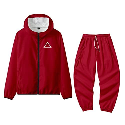 ITSHAY Juego de Calamar Rojo,Chaquetas de Disfraz de Cosplay,Sudadera y Pantalones Unisex,Conjuntos de Ropa de Cosplay,Disfraz de Halloween Unisex (Color : Red Triangle Set, Size : XXL-a)