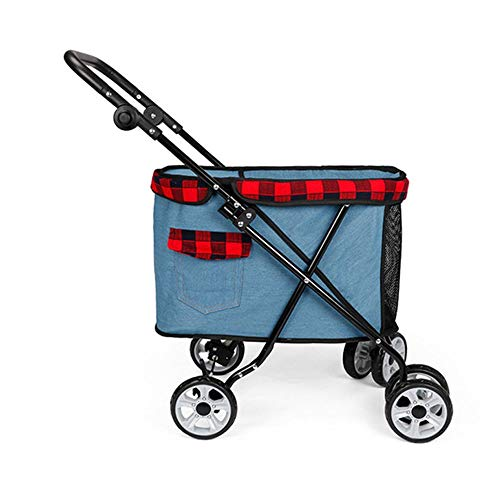 LZC Travel Pet Cart Go Out Dog Cat Portable Teddy Hand Luggage Case Foldable Breathable Bag 360 Rotating Front Wheel