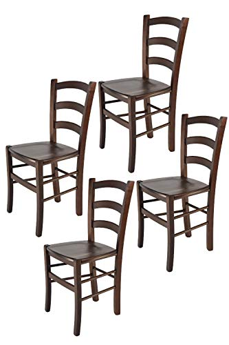 Tommychairs - 4er Set Stühle Venice für Küche und Esszimmer, robuste Struktur aus lackiertem Buchenholz im Farbton Dunkles Nussbraun und Sitzfläche aus Holz