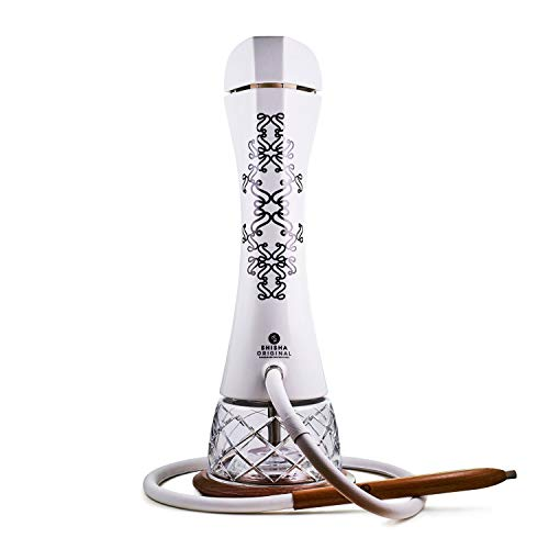 Shisha Original - ARISTO Terra, eine weiße Porzellan-Wasserpfeife mit einer geschliffenen Vase aus Böhmischem Kristallglas, einem Lederschlauch, einem Holzuntersetzer und LED-Licht.