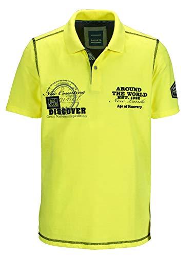 BABISTA Herren Polo-Shirt – Kurzarm-Oberteil aus Baumwoll-Mix in Piqué-Qualität, T-Shirt Bedruckt und Bestickt, Polo-Hemd in Neongelb, Gr. 48, Neongelb, Gr. 54