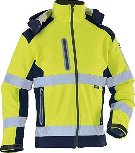Softshelljacke, leuchtgelb / marine Warnschutzsoftshelljacke, abnehmbare Kapuze