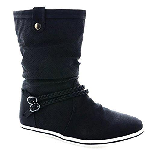 JUMEX Neu Damen Stiefeletten Stiefel Warm Gefüttert Boots Flache Schlupfstiefel Schuhe 3777 (36, Schwarz)