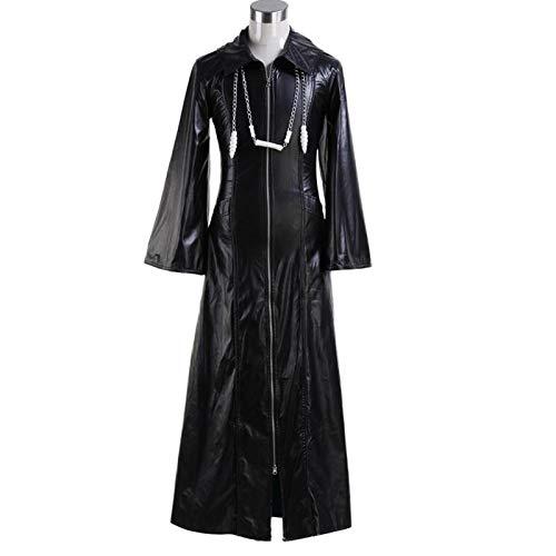 YLJXXY Disfraz de Organization Roxas Xemnas para Hombre Abrigo Largo de Cuero con Cremallera Chaqueta + Cadenas Dos,XL
