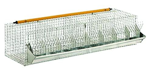 Euroshoppingonline Gabbia per Conigli ingrasso 8 posti Completa di abbeveratoio e mangiatoia cm. 122 x 52 x H. 30