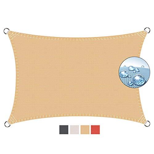 Aibingbao Toldo Parasol 2x4m Resistente a la Intemperie Protección Solar, Toldo Vela IKEA Impermeable, para Exteriores Patio, el jardín, protección UV, Beige