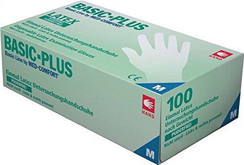 Latexhandschuhe EN420 Gr. XL Latex, puderfrei, rechts u.links passend Box a 100 Stück, Preis per Box