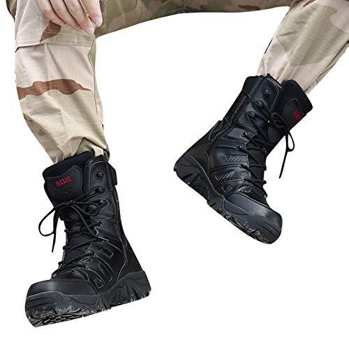 Scarpe Uomo Eleganti ASHOP Stivale Militare da Trekking Resistente all'Usura Anti-Scivolo, Comodo da Uomo Nero EU 40