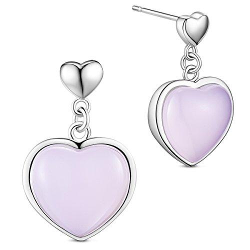 Pendientes mujer de 925 plata de esterlina, colgante de corazón con cuarzo Rosa, platino, 20mm