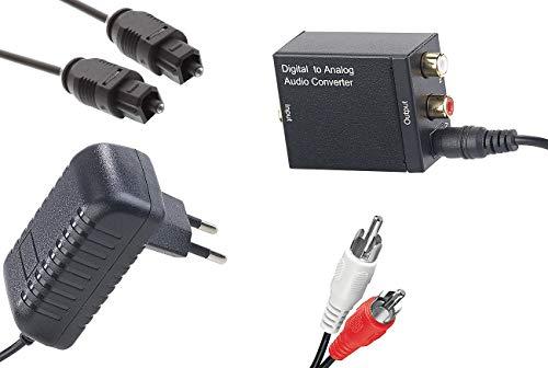 auvisio Digital analog Wandler: Audio-Konverter Digital (Toslink/Koaxial) zu Analog (Cinch) mit Kabel (optisches Kabel auf Cinch)