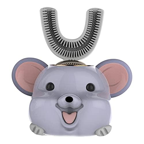 F Fityle Cepillo de dientes eléctrico inteligente de 360 ° para niños en forma de U, cepillo de dientes recargable de cinco modos, suministros de - Rata azul