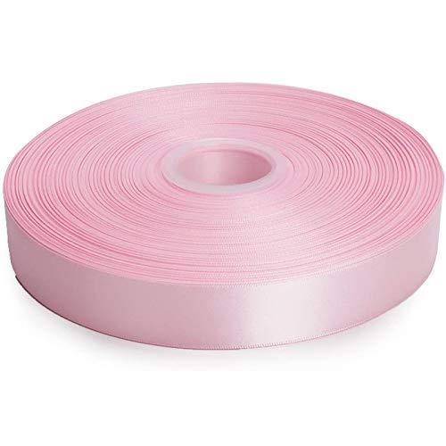 Ctzrzyt 100 Yardas Cinta De Raso De Doble Cara De 1 Pulgada para Manualidades, Envoltura De Regalos, Lazo para El Cabello, Decoración De Bodas - Rosa Perla