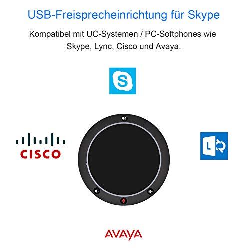 Tenveo NA100   USB Konferenzmikrofon mit Lautsprecher für Telefonkonferenz, Omnidirektionales USB Konferenzlautsprecher mit 3.5mm kopfhörerbuchse