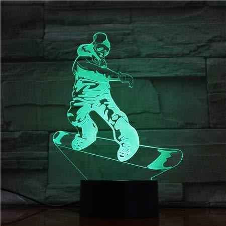 Snowboard 3D Lamp voor Kinderen, Led Illusion Nachtlampje USB Aangedreven 7 Kleuren Touch Schakelaar Decoratie Verlichting Kamer Decoratie voor Kinderen
