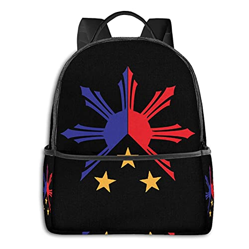 Tribal Philippines Filipino Sun And Stars Flag Woman Mens Backpack Casual Daypack For Travel, College, School Daypack For Man,Women