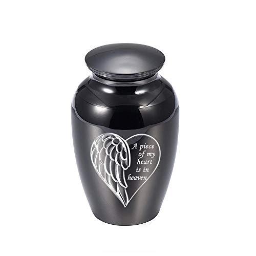 LTNWQ Ángel ala corazón Grabado pequeño cremación Cenizas urnas Aluminio urna Funeral ataúd Memorial Angel Keepsake-Negro 45 * 70mm
