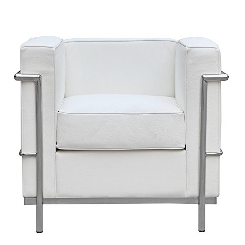 Mid Century Modern Classic Le Corbusier LC-2 Style Replica Cube Sofa Chair (1 Seater) with Premium White PU Leather and Encasing Stainless Steel Frame