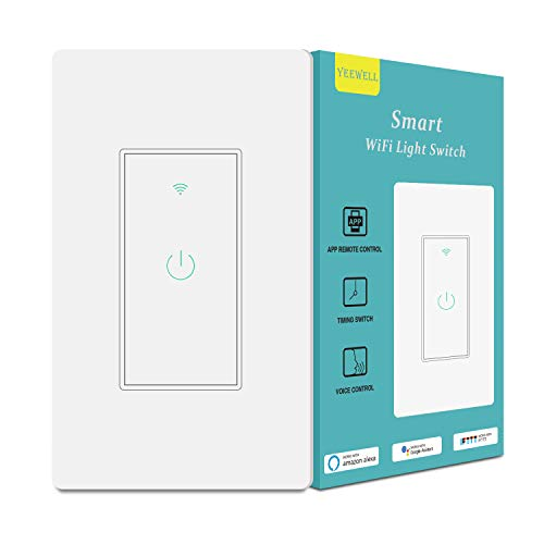 Smart Light Switch&Alexa Smart Switch&2.4Ghz WiFi Light Switch with Timer and Remote Control,Schedule,Neutral Wire Needed,Compatible with Alexa, Google Assistant and IFTTT,Single Pole(1pack)
