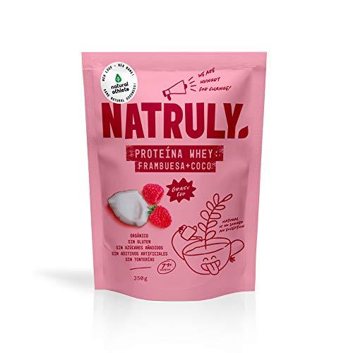 Proteine Whey Fragola e Cocco NATRULY 71% di Proteine del Siero del Latte Pastorizzato Senza Zucchero, 100% Naturale, Senza Glutine –350 gr (prima Natural Athlete)