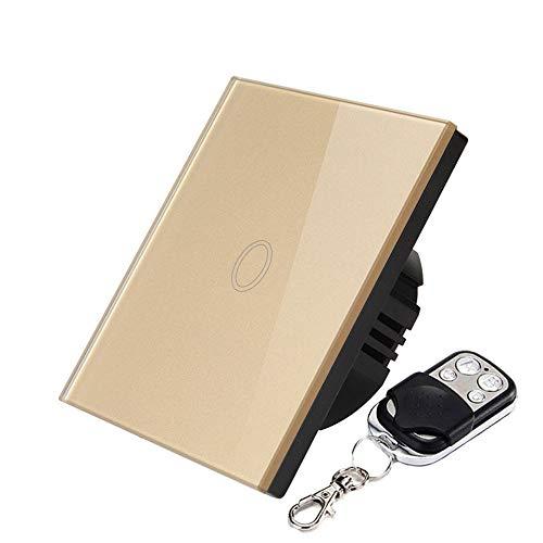 Smart RF Touch Interruptor de luz, 1 Marcha, WiFi y RF Remote Glass Panel Touch, sin Necesidad de hub, Compatible con Alexa, Google, Dorado