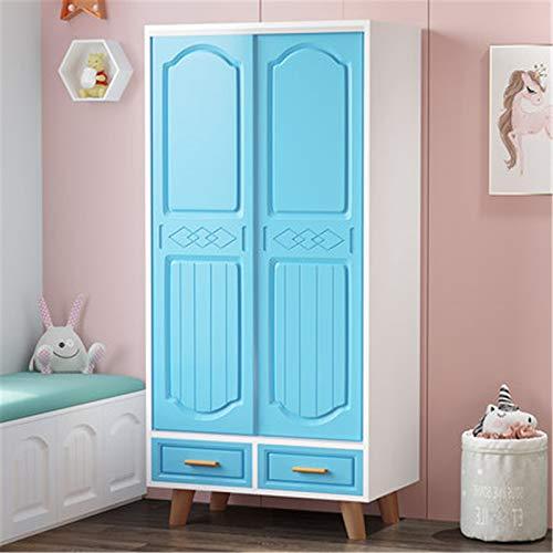 LiChaoWen Armario Infantil Dormitorio Hogar Simple Simple Smile Wardrobe Landing Baby Storage Gabinete de Almacenamiento Armarios De Dormitorio (Color : Azul, Size : 160x50x80cm)