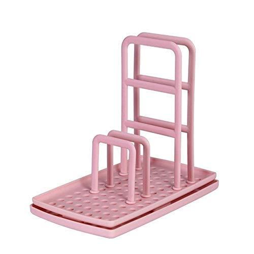 HGJINFANF Fuerte y firme, esencial para el hogar Cocina escritorio Rag Rack multifunción Escurridor de platos sin perforar esponja jabonera, estante de almacenamiento, escurridor de platos, color rosa