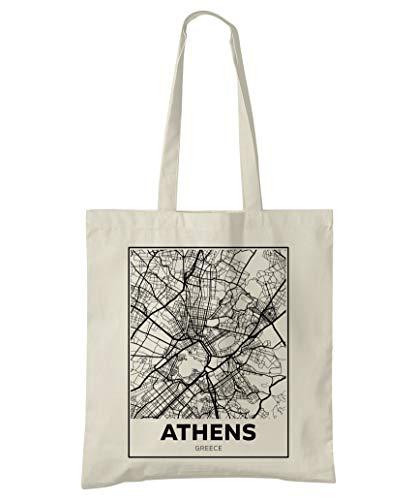 Super Cool Totes Athen, Griechenland, Stadtplan Einkaufstasche (Design 4)