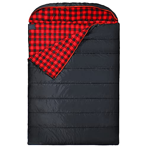 REDCAMP Double Sleeping Bag for Adults, 2 Person Cold Weather Queen Size Flannel Sleeping Bags for...