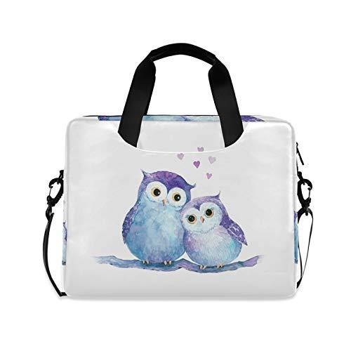 Biekaya Cute Owls Laptop Bag 15.6 inch Durable Laptop Messenger Shoulder Bag Business Briefcase Laptop Sleeve Case with Strap