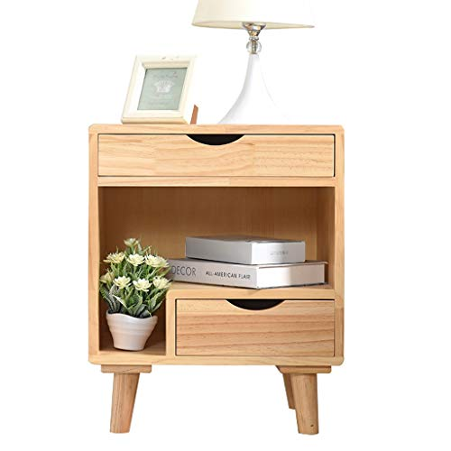 XIAOQIU Nightstand Wooden Bedroom Nightstand Modern Bedside Table Furniture Open Storage W/Drawer End Table Living Room Locker Bedside Cabinet (Color : Wood color)