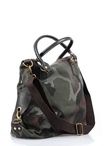 complementoslamonsita Bolso de camuflaje mujer, bolso 100% cuero auténtico, bolso bandolera resistente con asas de cuero y cremallera. Oferta en bolsos de piel