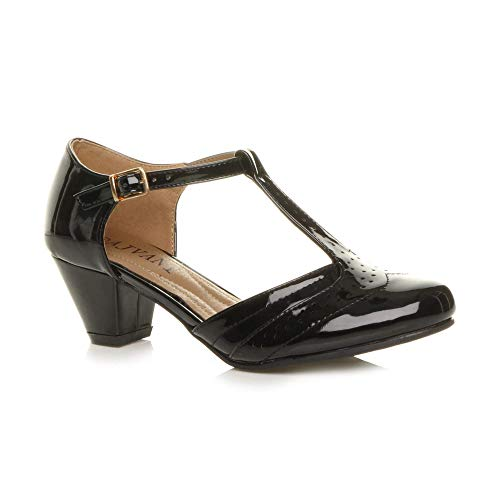 Damen Mitte Blockabsatz T-Riemen Ausgeschnitten Brogues Pumps Sandalen Größe 7 40