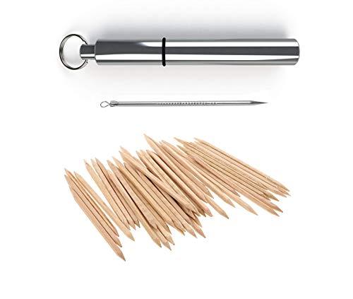 BMTick Taschen-Zahnstocherhalter (tragbar, schlankes Aluminiumgehäuse mit Schlüsselanhänger) + Zahnstocher aus Metall + Zahnstocher aus Holz