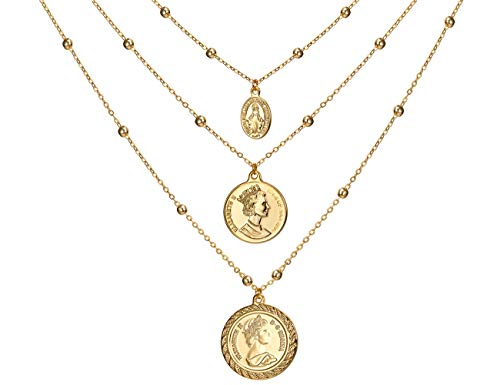 Coin Necklace 18K Gold Plated Vintage Medallion Coin Pendant Mothers Day Special Jewelry Gifts Gold Layered Necklaces for Women Mom