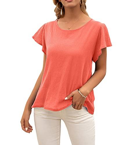 Manga Corta Mujer T-Shirts Simplicidad Moda Verano Cuello Redondo Color Sólido Mujer Blusa Exquisito Dulce Manga De Loto Diseño Diario Casual Cómodo All-Match Mujer Tops B-Orange L
