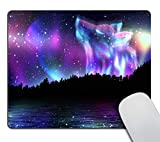 Smooffly Art Mouse Pad Custom,Colorful Northern Landscape with Howling Wolf Spirit and Aurora Borealis Mouse Pad Cute Design