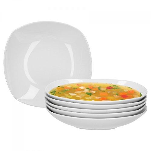 Van Well 6er Set Suppenteller Lilli, 500 ml, 220 x 220 mm, tiefer Menüteller, Nudelteller, Salatteller, Schale, edles Markenporzellan, glänzend, klassisch weiß, quadratisch